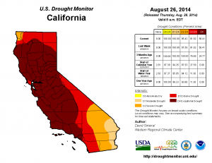 "The Drought Monitor continues to depict ""exceptional"" drought in California. (UNL/NOAA/USDA)"