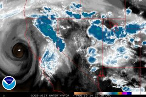 A well-defined cut-off low was centered ~150 miles northwest of San Francisco. (NOAA)