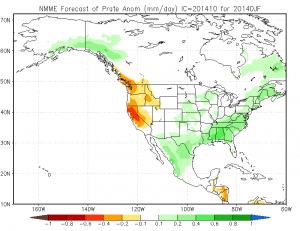 The North American Model Ensemble suggests dry conditions over California during DJF 2015. (NCEP)
