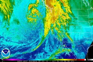 Infrared satellite imagery depicting the incoming Pacific storm system. (NOAA/SSD)