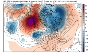 """The current setup over the Eastern Pacific depicts a classic """"Omega Blocking"""" regime, with a strong ridge over the Gulf of Alaska. (NCEP via Levi Cowan)"""