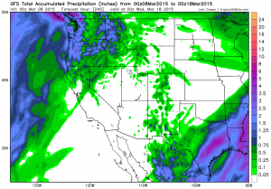 The latest GFS model forecasts bring only light precipitation to  Northern California over the next 10 days. (NCEP via Levi Cowan)