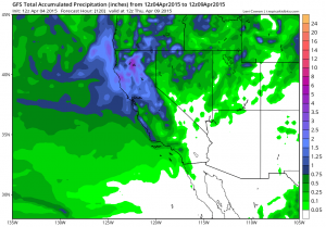 Significant precipitation is expected over the next 5 days across NorCal. (NCEP via tropicaltidbits.com)