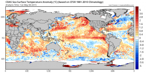 A canonical East Pacific  El Niño signature has rapidly emerged in recent weeks. (Levi Cowan via tropicaltidbits.com)