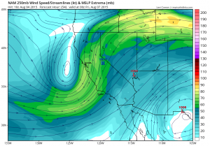The NAM model suggests that an upper level low will be in a very favorable position for NorCal thunderstorms by late Thursday. (NCEP via Levi Cowan)