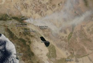 The Lake Fire has been producing a large smoke plume--visible from space--as it continues to burn in and near the San Bernardino National Forest. (NASA)